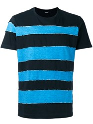 Diesel Striped T Shirt Black