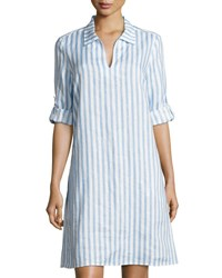 Neiman Marcus Long Sleeve Striped Linen Dress Blue White