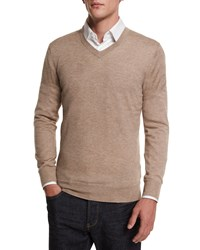 Neiman Marcus Cashmere Silk V Neck Sweater Taupe Brown