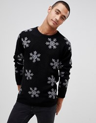 Tom Tailor Christmas Snowflake Jumper In Black