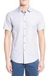 Men's Vince Camuto Slim Fit Short Sleeve Dobby Stripe Sport Shirt