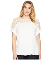 Calvin Klein Plus Size Short Sleeve Top With Lace Yoke Soft White Women's Short Sleeve Knit