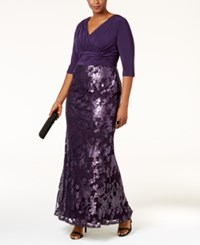 Adrianna Papell Plus Size Sequined Lace Gown Aubergine