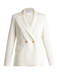 Osman Perfect 5 Double Breasted Wool Twill Blazer White