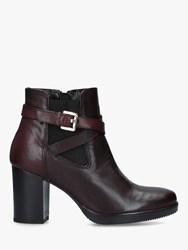 Carvela Silver Leather Block Heel Ankle Boots Red Wine