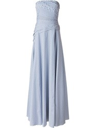 Ralph Lauren Striped Strapless Gown Blue