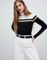 New Look Color Block Rib Roll Neck Black