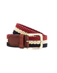 The Idle Man Elastic Weave Belt Navy Stone And Burgundy