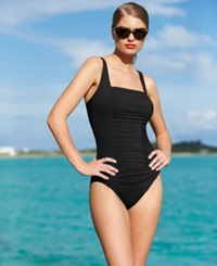 Calvin Klein Ruched Panel One Piece Swimsuit Women's Swimsuit Black