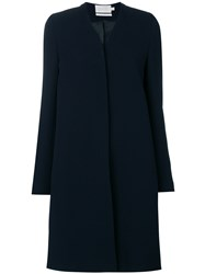 Goat Florentine Single Breasted Coat Wool Acetate Polyester Blue