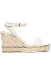 Lanvin Woman Embellished Leather Trimmed Woven Wedge Espadrille Sandals Ivory