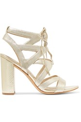 Sam Edelman Lace Up Metallic Textured Leather Sandals Gold