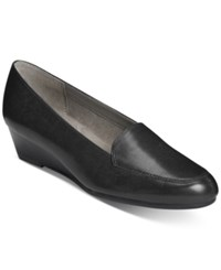 Aerosoles Lovely Wedge Flats Women's Shoes Black Leather