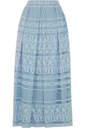 House Of Holland Heart Guipure Lace Maxi Skirt Sky Blue