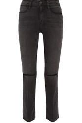 Frame Le High Distressed Mid Rise Straight Leg Jeans Anthracite