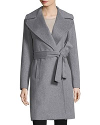 Fleurette Notched Collar Wool Wrap Coat Grey Heather