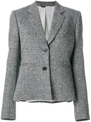 Paul Smith Ps By Fitted Embroidered Blazer Cotton Nylon Acetate Virgin Wool Grey