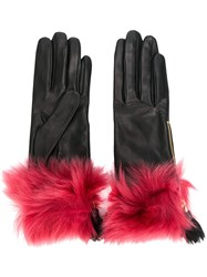 Prada Fur Trim Gloves Black