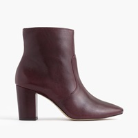 J.Crew Leather Zip Ankle Boots Pale Rosewood