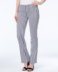 Xoxo Juniors' Natalie Striped Waist Tab Flared Pants Ivory Navy