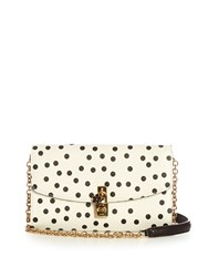 Dolce And Gabbana Polka Dot Print Leather Cross Body Bag White Black