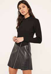Missguided Faux Suede And Leather Zip Through A Line Skirt Black