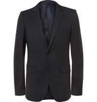 Wooyoungmi Blue Silk Satin Trimmed Wool Blazer Navy