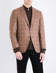Canali Windowpane Check Slim Fit Wool And Cashmere Jacket Light Brown