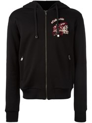 Dolce And Gabbana Followme Patch Zip Hoodie Black