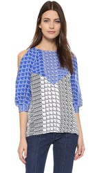 Kenzo Houndstooth Stripe Blouse Royal Blue