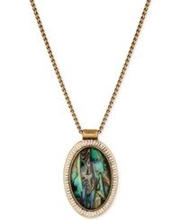 Lucky Brand Gold Tone Large Abalone Look Oval Pendant Necklace