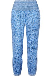 Hatch Ziggy Smocked Floral Print Cotton Voile Tapered Pants Blue