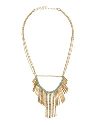 Lydell Nyc Golden Fringe Bib Necklace W Blue Bead Accents Women's