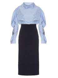 A.W.A.K.E. Preppy Funnel Collar Midi Dress