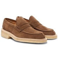 Tricker's James Suede Penny Loafers Brown