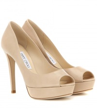 Jimmy Choo Dahlia Patent Leather Peep Toe Pumps Beige