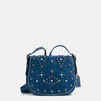 Coach Western Rivets Saddle Bag 23 In Suede Bp Denim