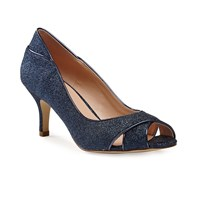 Paradox London Pink Adele Glitter Peep Toe Court Shoes Navy