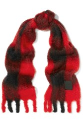 Loewe Plaid Mohair And Wool Blend Scarf Black