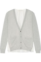 Clu Lace Paneled Wool And Cashmere Blend Cardigan Light Gray