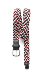 Andersons Multicolored Stretch Woven Belt Red Navy White Silver