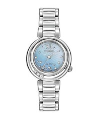Citizen Ladies Sunrise Stainless Steel Watch With Diamond Accents Silver