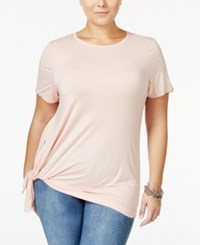 Whitespace Trendy Plus Size Tie Hem T Shirt Light Pink