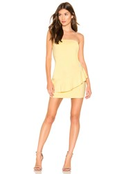 Susana Monaco Strapless Cross Ruffle Dress Yellow