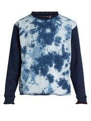 Longjourney Nash Tie Dye Print Cotton Sweatshirt Blue Multi