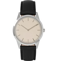 Uniform Wares C35 Psi 01 Stainless Steel And Leather Wristwatch Silver