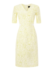 Paul Smith 3 4 Sleeve Shift Dress With V Neck Yellow