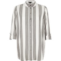 River Island Womens Grey Stripe Relaxed Fit Shirt