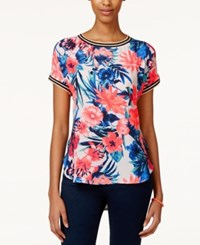 Jolt Juniors' Printed High Low Blouse Knockout Navy