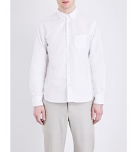 Officine Generale Standard Fit Button Down Pure Cotton Shirt White Navy Selv